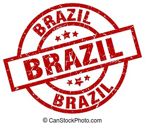 ブラジル, 切手, グランジ, ラウンド, 赤