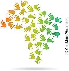ブラジル, 地図, イメージ, 手, ロゴ