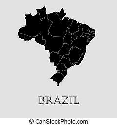 ブラジル, 地図, -, イラスト, ベクトル, 黒