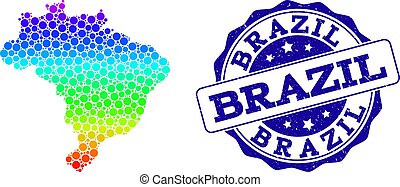 ブラジル, 地図, グランジ, 点を打たれた, 切手, スペクトル, シール