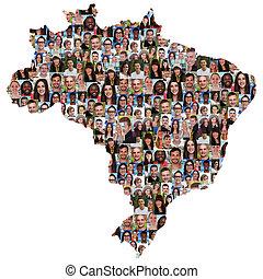 ブラジル, 地図, グループ, 人々, multicultural, 若い, 統合, 多様性