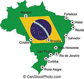 ブラジル, 地図, サッカー, 2014
