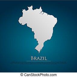 ブラジル, 地図, ベクトル, 紙カード