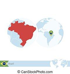 ブラジル, 地図, 地球, 地域である, 旗, 世界, brazil.