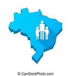 ブラジル, 地図, 家族, 親, pictogram, 隔離された, イラスト, 単一, マレ