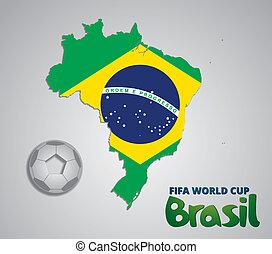 ブラジル, 地図, 自然, カップ, ペーパー, fifa, 2014, 世界, カード, 3d