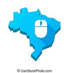 ブラジル, 地図, 隔離された, イラスト, 無線, マウス