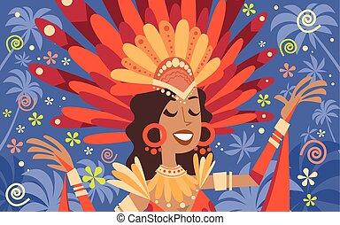 ブラジル, 女, カーニバル, 伝統的である, リオ, 明るい, ラテン語, ウエア, パーティー, 衣装
