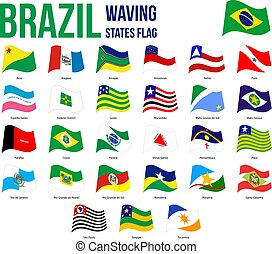 ブラジル, 州, 役人, 割合, 旗, コレクション, 振ること, 色, ベクトル, イラスト