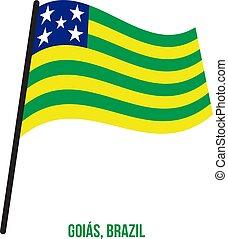 ブラジル, 州, goias, イラスト, 振ること, バックグラウンド。, 旗, ベクトル, 白
