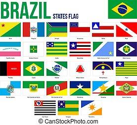 ブラジル, 役人, 割合, 旗, イラスト, 州, 色, ベクトル, コレクション