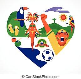 ブラジル, 心, セット, 愛, アイコン, -