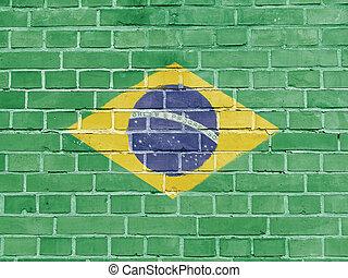 ブラジル, 政治, concept:, ブラジルの旗, 壁