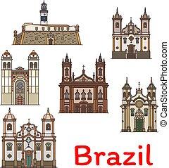 ブラジル, 旅行, 人気が高い, 薄くなりなさい, ランドマーク, 線, アイコン