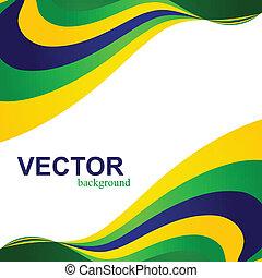 ブラジル, 概念, ビジネス, カラフルである, イラスト, 波, 旗, ベクトル