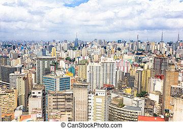 ブラジル, 航空写真, サンパウロ, 光景