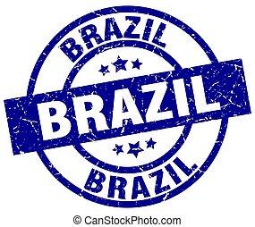 ブラジル, 青, グランジ, ラウンド, 切手