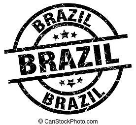 ブラジル, 黒, グランジ, ラウンド, 切手