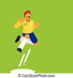 ブラジル, 10, 数, ジャンプ, プレーヤー, ベクトル, サッカー, 祝福