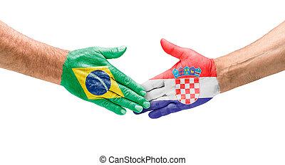 ブラジル, croatia, 握手