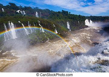 ブラジル, del, 滝, 虹, cataratas, iguazu, 上に