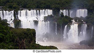 ブラジル, iguazu, 川, cataratas, 滝, del