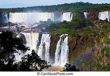 ブラジル, iguazu, 滝, cataratas, del, 川