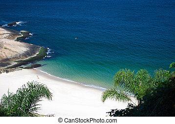 ブラジル, niteroi, de, リオ, janeiro, 水晶のようである, 浜, 砂漠