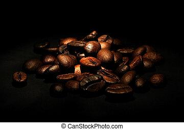 ブラックのコーヒー, 豆, 背景