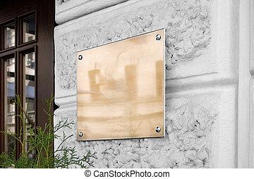 ブランク, の上, 看板, ガラスの壁, textured, mock, 金