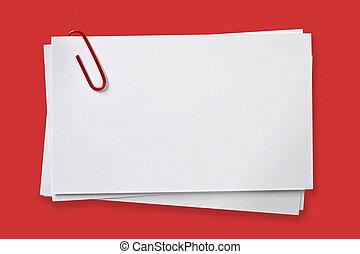 ブランク, カード, ∥で∥, 赤, ペーパークリップ