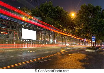 ブランク, バス, 広告板, 駅, 夜
