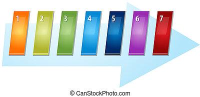 ブランク, ビジネス戦略, 概念, infographic, 図, 傾けられる, 番号を付けられる, 連続, 矢,...