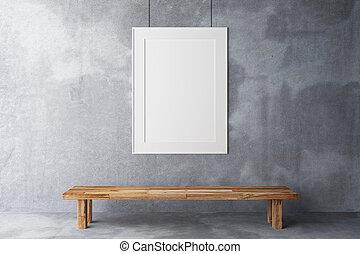 ブランク, フレーム, 中に, ∥, ギャラリー, 上に, a, 具体的な 壁