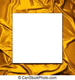 ブランク, ペーパー, 上に, 優雅である, そして, 柔らかい, 金のサテン, 背景