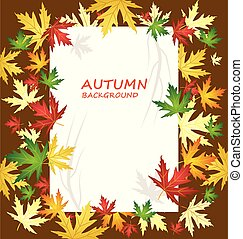 ブランク, ペーパー, 上に, 秋, 背景, ∥で∥, 別, 種類, の, 葉