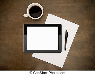 ブランク, 仕事場, タブレット, デジタル