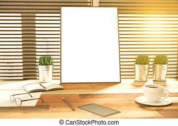 ブランク, 写真フレーム, 上に, a, 木製の机, ∥において∥, 日没