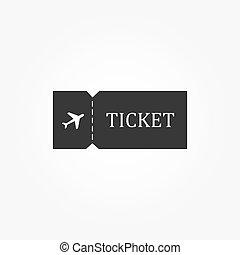 ブランク, 切符, 飛行機, icon., 旅行, シンボル。
