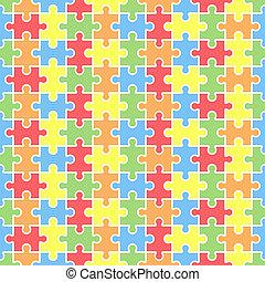 ブランク, 困惑, ジグソーパズル, template., seamless
