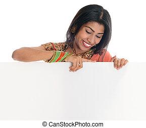 ブランク, 女, indian, カード, 保有物