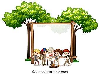 ブランク, 子供, テンプレート, 木, 印