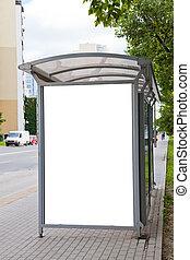 ブランク, 広告板, 上に, バス停