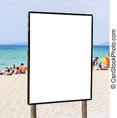 ブランク, 広告板, 上に, 公衆, 浜