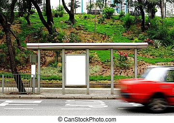 ブランク, 広告, 広告板, 上に, バス停