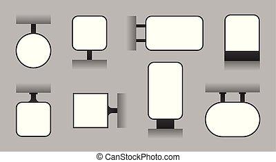 ブランク, 広告, 看板, 屋外, lightbox, 店, signage, そして, ディスプレイ, 板, ベクトル, テンプレート
