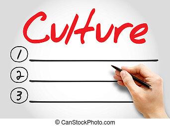 ブランク, 文化, 概念, ビジネス, リスト