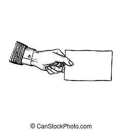 ブランク, 横, 紙カード, 手