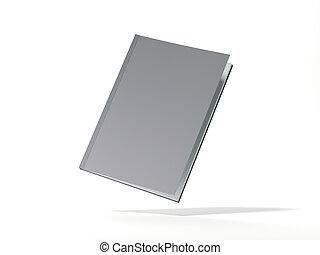 ブランク, 灰色, book., 3d, レンダリング