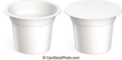 ブランク, 白, ほっそりしている, 容器, プラスチック